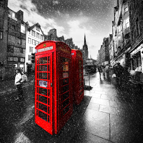 Royal Mile Phoneboxes by Don Alexander Lumsden - City,  Street & Park  Street Scenes