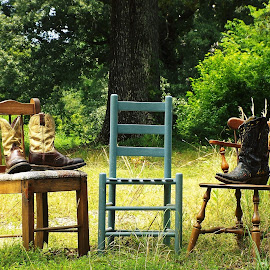 Three Chairs and Boots by Keith Bass - Artistic Objects Furniture ( chair, boot, arkansas photographer, ladder back chair, ladder back, rustic chair, ethan allen chair, furniture, cowboy boot, furnit, arkansas, Chair, Chairs, Sitting )