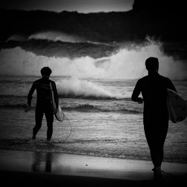 Dusk Surfers by Joe Tanner - Sports & Fitness Surfing ( surf beach waves board,  )