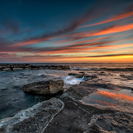 Smoke On Water by Raad Roger - Landscapes Sunsets & Sunrises ( water, pafos, sky, cypru, hdr, colors, waves, sunset, d800, nikon, rocks )