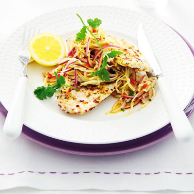 Spice-crusted chicken with Asian slaw