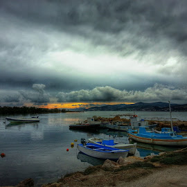 winter's sunset by Evangelia Ba - Instagram & Mobile Android ( clouds, sky, winter, paros, sunset, antiparos, greece, boats, sea, view, colours )