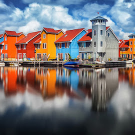 Reflections  by Wim Denijs - City,  Street & Park  Vistas ( colour, groningen, holland, reitdiephaven, reitdiep )