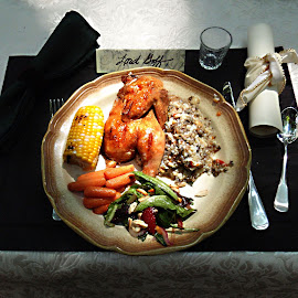 Dinner al Fresco by Dan Dusek - Food & Drink Plated Food ( food, vegetables, plated food, corn, cornish game hen,  )