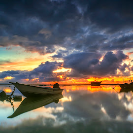 Burning Ship by Bayu Adnyana - Landscapes Beaches ( clouds, bali, mertasari, sunrise, landscapes, boat )