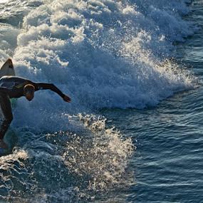 Surfer 1 by Peter Murnieks - Sports & Fitness Surfing ( water, surfer, surf board, white, wave, ocean, stunt, wet suit, trick, flip )