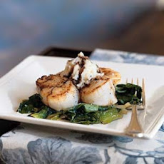 Seared Scallops with Escarole and Balsamic-Truffle Glaze