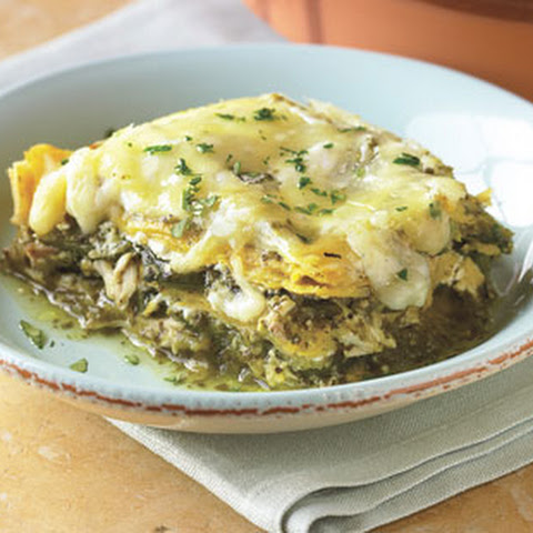 Stacked Chicken Enchiladas with Salsa Verde and Cheese