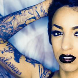 Strike by Todd Wallarab - People Body Art/Tattoos ( sexy, girl, woman, lips, tattoo, pretty, eyes )