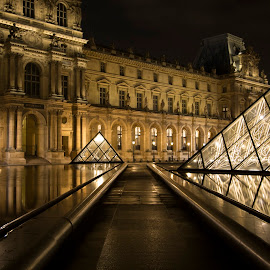 The Louvre  by Chanin Green - Buildings & Architecture Public & Historical ( paris, building, louvre, europe, pyramid, france, architecure, night )