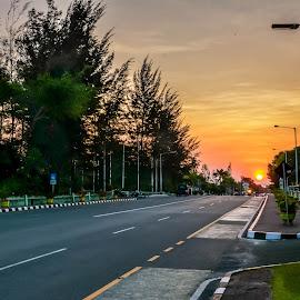 Senja di Ujung Jalan by Herry Sutrisno - City,  Street & Park  Street Scenes ( skyline, sky, sunset, street, landscapes, landscape,  )