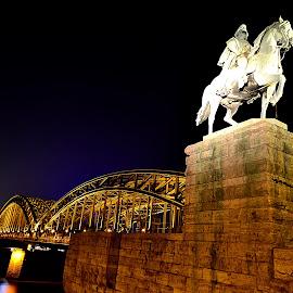 Köln at night by Antoni Jordaan - Buildings & Architecture Bridges & Suspended Structures ( cologne, dom, koln, night, bridge )