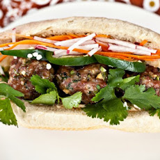 Banh Mi with pork meatballs