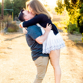 Engagement Photos by Amanda Jean - People Couples ( love, two, kissing, sunset, couple, backyard, engagement )
