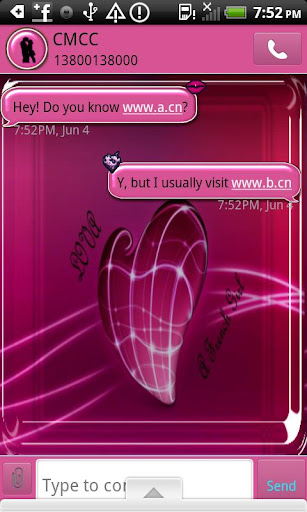 GO SMS THEME LoveA French Girl