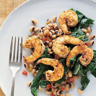 Cumin-Dusted Shrimp with Black-Eyed Peas and Collard Greens