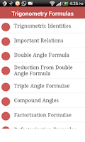 Screenshot of Trigonometry Formulas