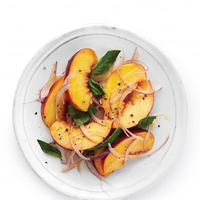 Peaches, Basil, and Red Onion