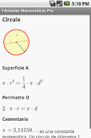 Screenshot of Fórmulas Matemáticas Pro