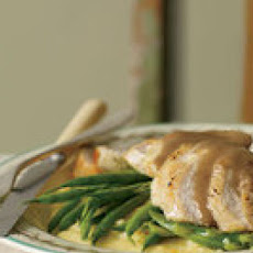 Orange-Balsamic Chicken with Asparagus, Green Beans and Polenta