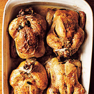 Cornish Game Hens Stuffed with Wild Rice and Pecans