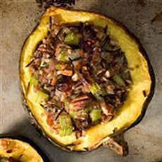 Baked Acorn Squash with Wild Rice