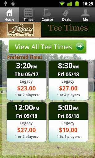 Legacy Golf Links Tee TImes