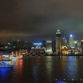 Shanghai at Night by Lee Davenport - City,  Street & Park  Skylines