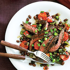 Ancho-Marinated Skirt Steak with Warm Black Bean Salad