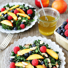 Grilled Kale Salad with Berries & Nectarines
