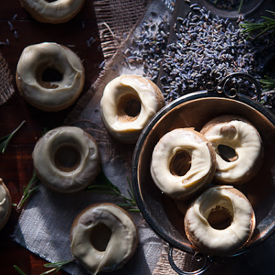 Rosemary And Lavender Baked Doughnuts With White Chocolate Glaze