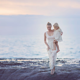 Always together  by Skaiste Sky - People Family ( water, sky, mother, happy, sunset, daughter, ocean, beach, sun )