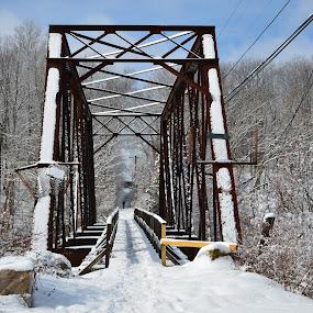 Trail Footbridge by Carl Testo - Buildings & Architecture Bridges & Suspended Structures ( footbridge, winter, snow, trolley trail, branford )