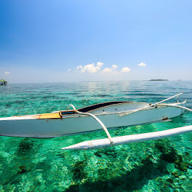 JUST WAITING  by Michael Rey - Transportation Boats ( mactan, boats, cebu, beach, diving, philippines, swimming )