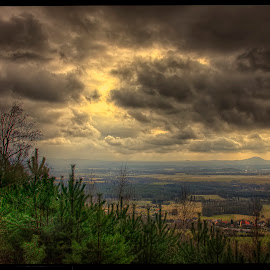from Dědovy kameny view by Petr Klingr - Landscapes Cloud Formations ( clouds, hdr, trees, formation )