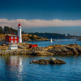 Fisgard Lighthouse by Carrie Cole - Novices Only Landscapes ( fortroddhill, red, old lighthouse, canada, fisgard lighthouse, lighthouse, victoria, ocean, westcoast, heritage, britishcolumbia )