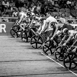 Waiting for the gun by Chris Hartley - Sports & Fitness Cycling ( #sport, #fast, #cycling, #trackcycling, #velodrome )