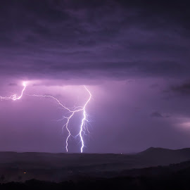 Lightning by Andrea Evans - Landscapes Weather ( thunder, lightning, night, landscape, storm, rain )