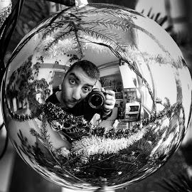 selfportrait by Adrian Podaru - People Portraits of Men ( reflection, black and white, christmas tree, self portrait, globe,  )
