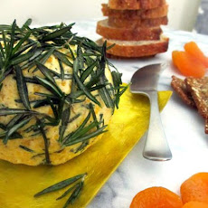 Apricot Goat Cheese Ball with Fried Rosemary and Shallots