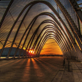 Olympic Stadium, Athens by Jan Helge - Buildings & Architecture Public & Historical ( sunset, athens, olympic stadium, lines, sun,  )