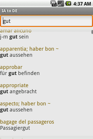 Interlingua to German