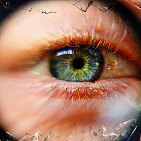 Shattered Glass by Dawn Vance - Digital Art People ( maginfier, shattered, blue, glare, glass, lashes, eye )