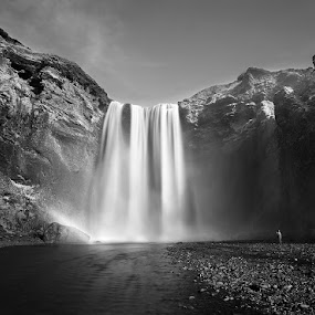 Skogafoss Waterfall by Fokion Zissiadis - Black & White Landscapes ( skogafoss waterfall landscape iceland,  )