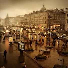 *** by Gennady Blokhin - City,  Street & Park  Historic Districts ( дождь, проспект, город, осень, люди )