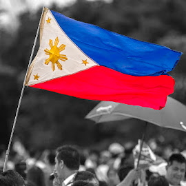 Red, Yellow, and Blue by Purito Rosero - News & Events Politics ( rally, politics, flag, color, colors, filter forge, object, manila, demonstration, landscape, philippines, portrait )