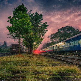 Train station in early morning by Balasubrahmanya Bhat - City,  Street & Park  Night ( clouds, train station, sky, night photography, night scene, early morning )