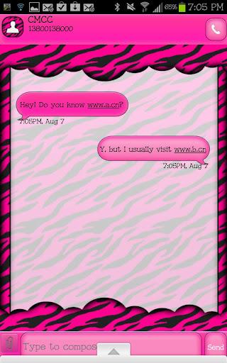 玩個人化App|GO SMS - Hot Pink Zebra 4免費|APP試玩