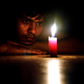 Selfieeee by Sandeep Nagar - People Portraits of Men ( selfie, potrait, candle, night, self portrait, light, Selfie, self shot, portrait )