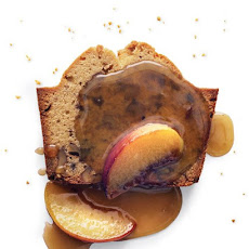 Brown Sugar-Walnut Pound Cake with Peach-Maple Sauce